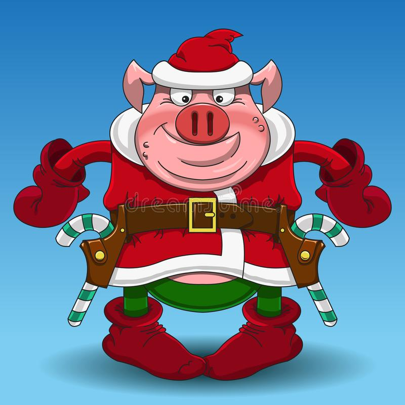Merry Christmas pig cowboy with candy royalty free stock photos