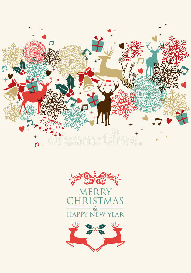 Merry Christmas postal card transparency stock illustration
