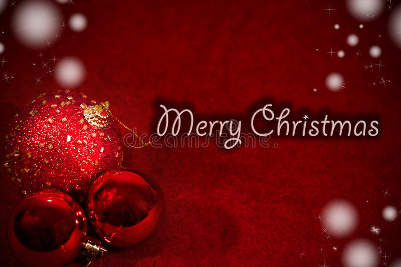 Merry christmas postcard. With red ball royalty free stock photos