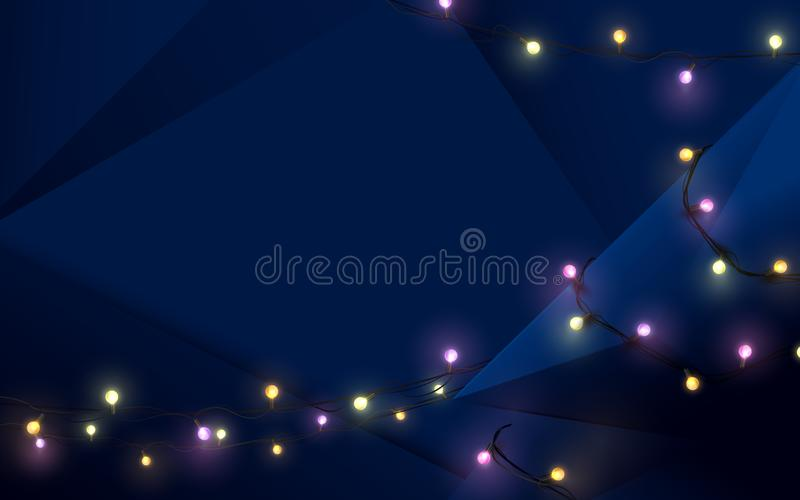 Merry Christmas postcard. Abstract 3d dark blue polygonal and Xmas sparkling lights garland background stock illustration