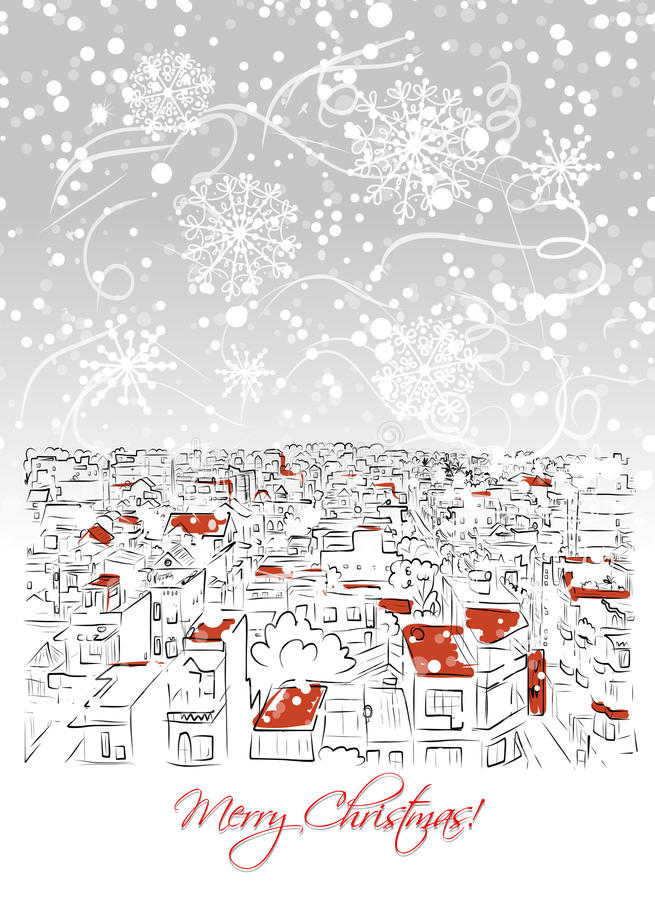 Merry christmas postcard with cityscape background royalty free illustration