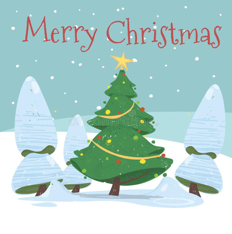 Merry Christmas Postcard, Cute Decorated Fir Tree vector illustration