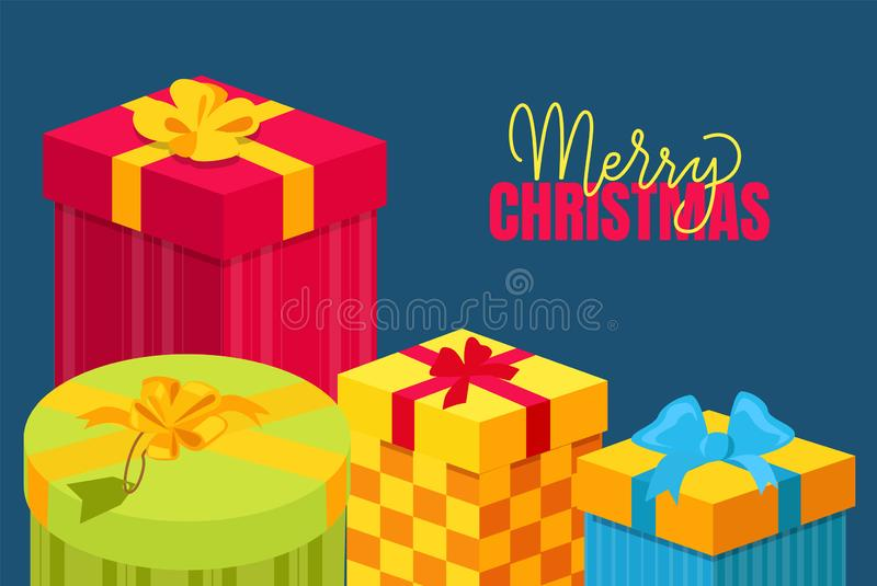 Merry Christmas Postcard with Gift Packed in Boxes. Merry Christmas postcard with gifts packed in decorative boxes, topped by bows. Xmas and New Year presents stock illustration
