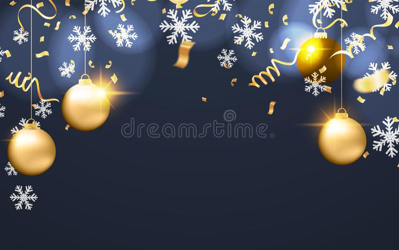 Merry Christmas Poster balloons and Happy New Year background. template winter holiday cards royalty free illustration