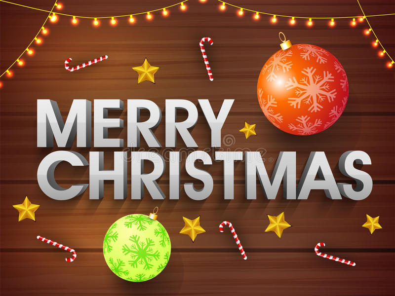 Merry Christmas Poster, Banner or Flyer design. 3D Text Merry Christmas on xmas ornaments and lights decorated wooden background, Elegant Party celebration vector illustration