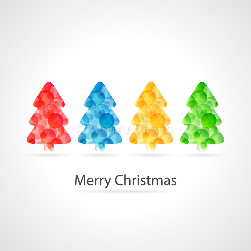 Merry christmas poster - colourful christmas trees stock illustration
