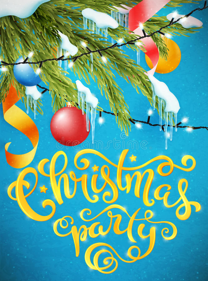 Merry Christmas poster. Christmas party poster with hand-drawn lettering, vector illustration royalty free illustration