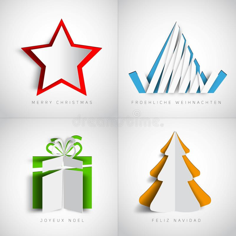 Merry Christmas, Realistic origami set, christmas tree, present. Gift, snow star, Vector illustration stock illustration