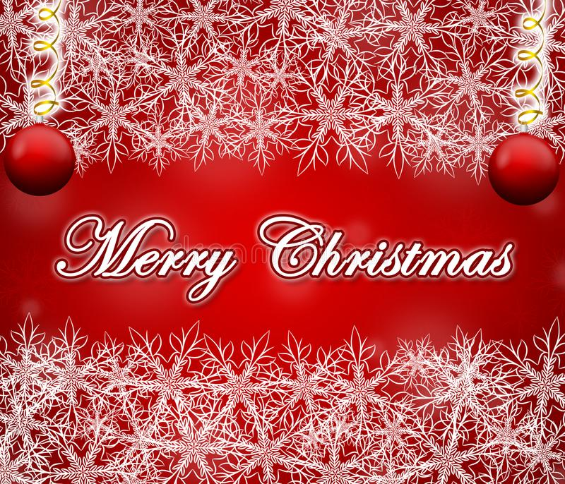 Merry Christmas red background with snowflakes frame. stock photos