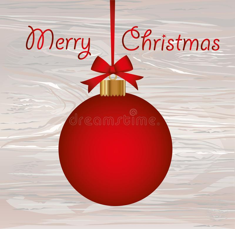 Merry Christmas red ball with bow and ribbon. Vector on wooden. Background. Greeting card For a holiday or a party stock illustration