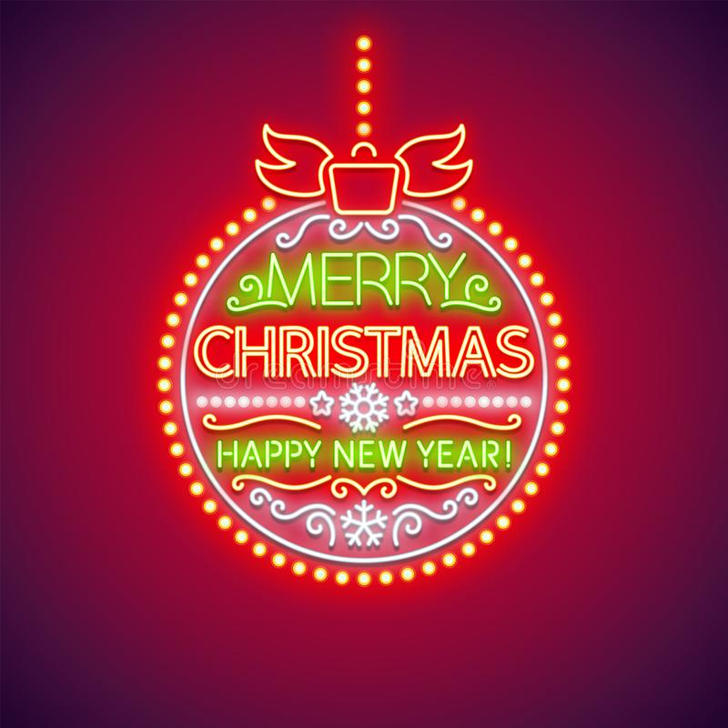 Merry Christmas Red Ball Neon Sign stock illustration