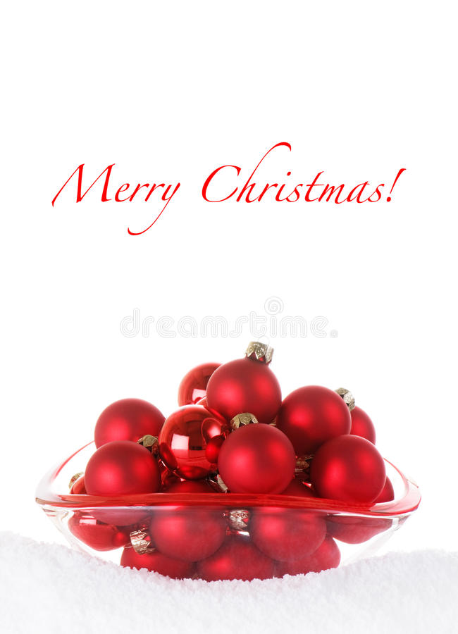 Download Merry Christmas Red Baubles In Glass Bowl With Sno Stock Photography - Image: 12044052
