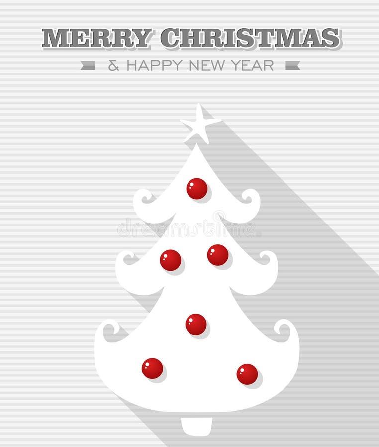 Merry Christmas red dot white tree. stock image