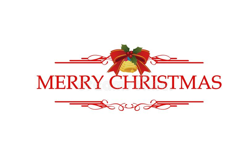 Merry Christmas red hand lettering inscription to winter holiday design, calligraphy illustration on white background. stock illustration