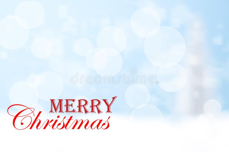 Merry Christmas red typography and blue bokeh background. vector illustration