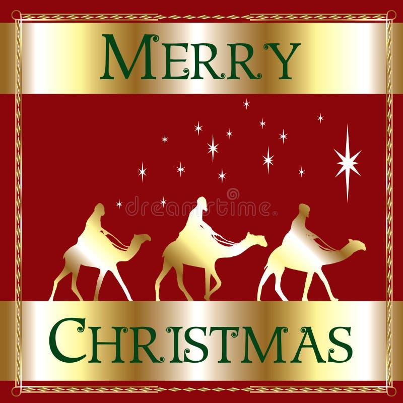 Merry Christmas Red Wisemen stock photo