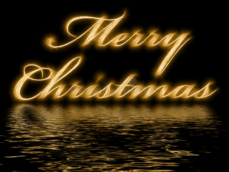 Merry Christmas - with reflection in rippled water royalty free illustration