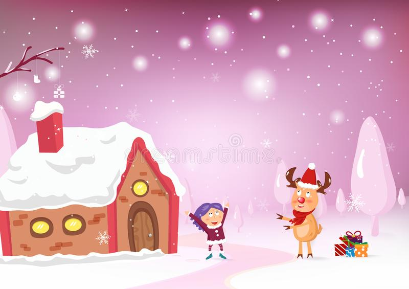Merry Christmas, reindeer cartoon character give a gift celebrate to a kid at home, greeting card, snow falling fantasy, sweet pa vector illustration