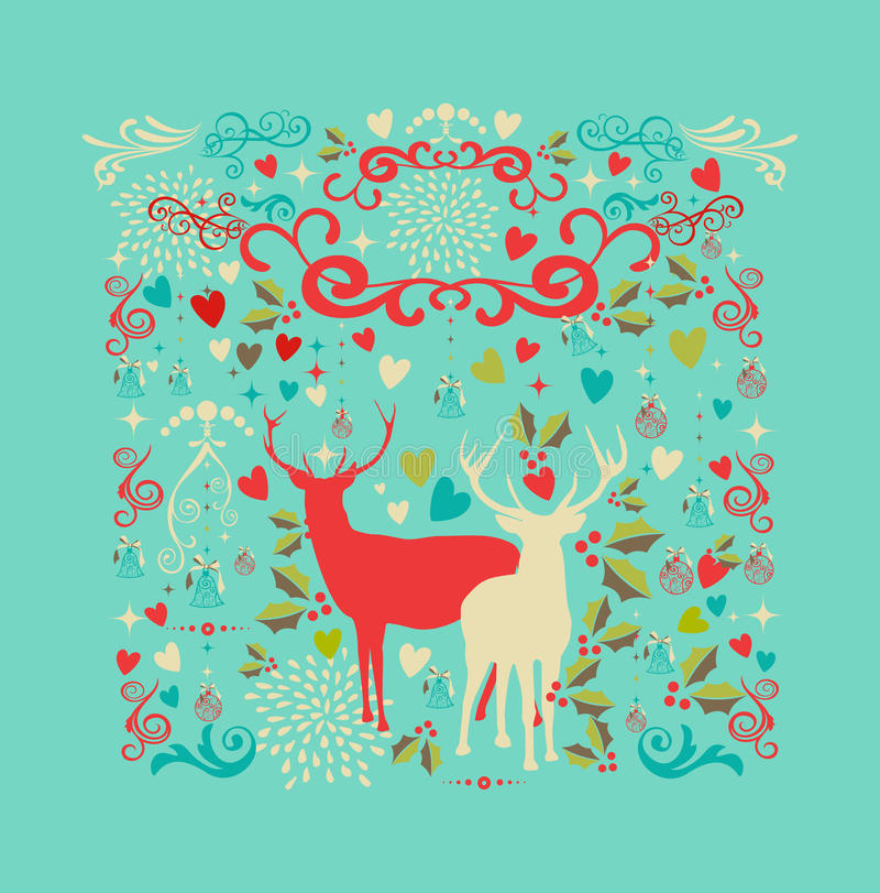 Free Merry Christmas Reindeer Shape And Love Icons Back Royalty Free Stock Photos - 33756478