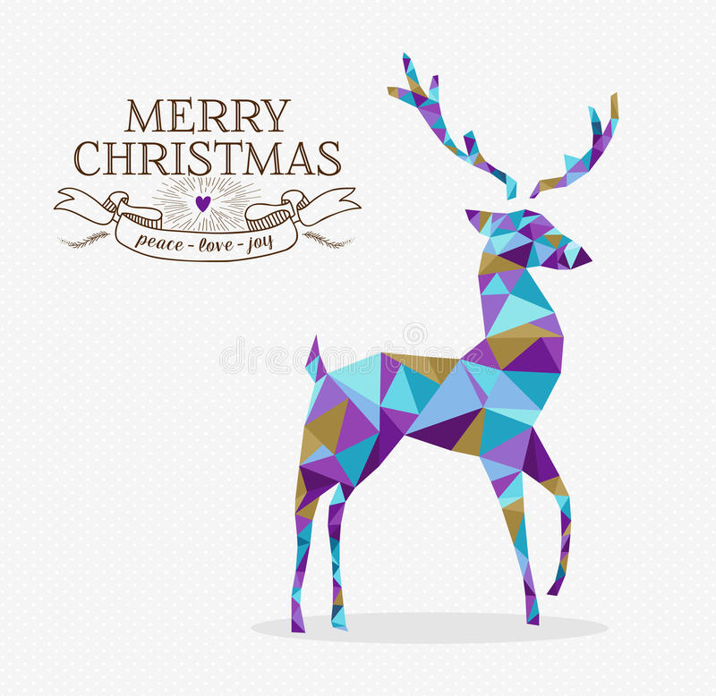 Merry christmas reindeer triangle hipster origami. Merry christmas reindeer shape in triangle origami hipster style with text label. Ideal for xmas greeting card royalty free illustration