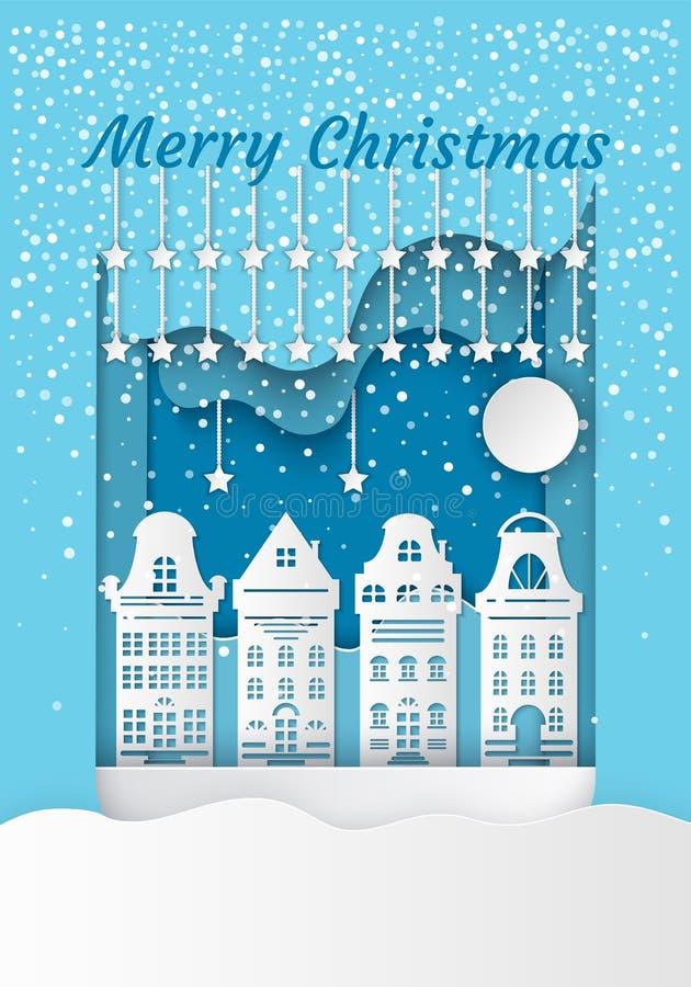 Merry Christmas White Residential Buildings Vector stock illustration
