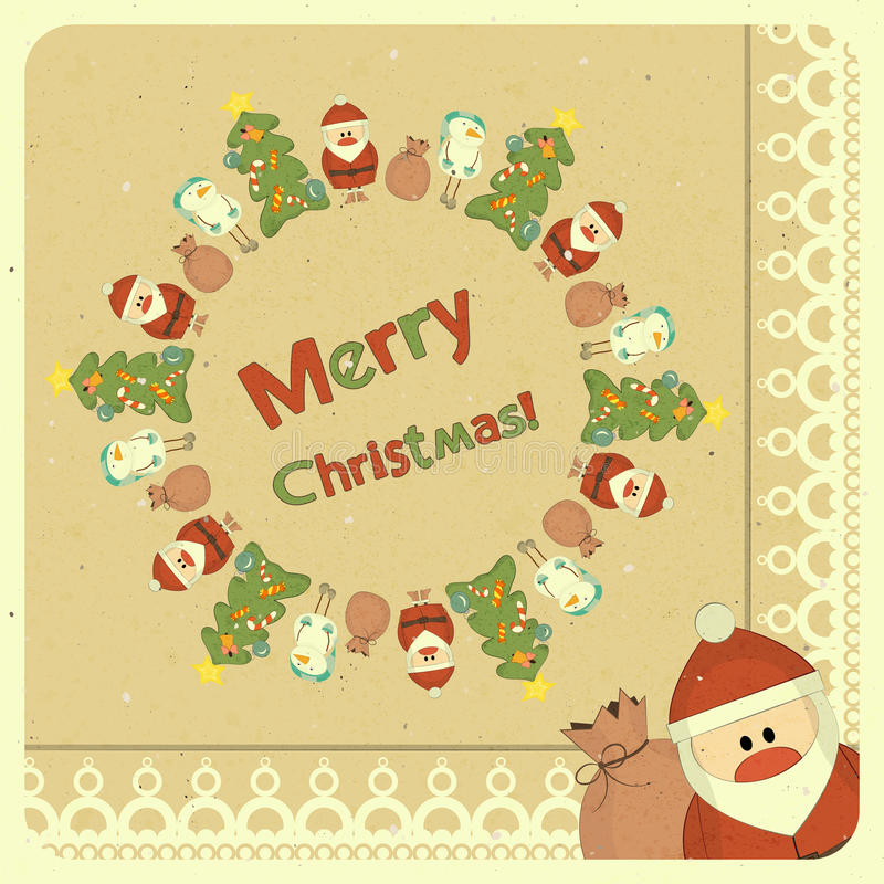 Download Merry Christmas Retro Card With Santa Claus Stock Vector - Illustration: 26617707