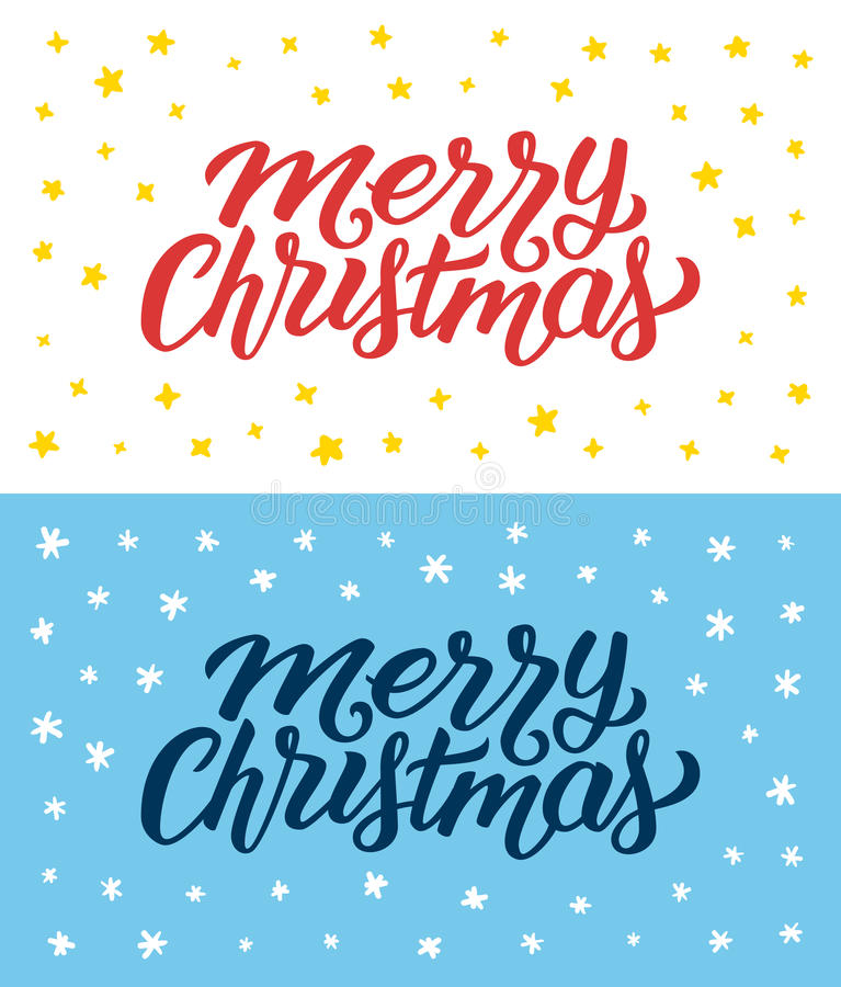 Merry Christmas retro flat style greeting cards. Merry Christmas vintage flat greeting cards or flyers set with hand lettering. Calligraphic text with Xmas stock illustration