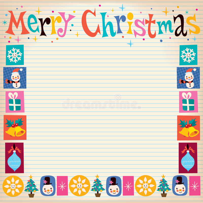 Download Merry Christmas Retro Greeting Card With Copy Space Stock Vector