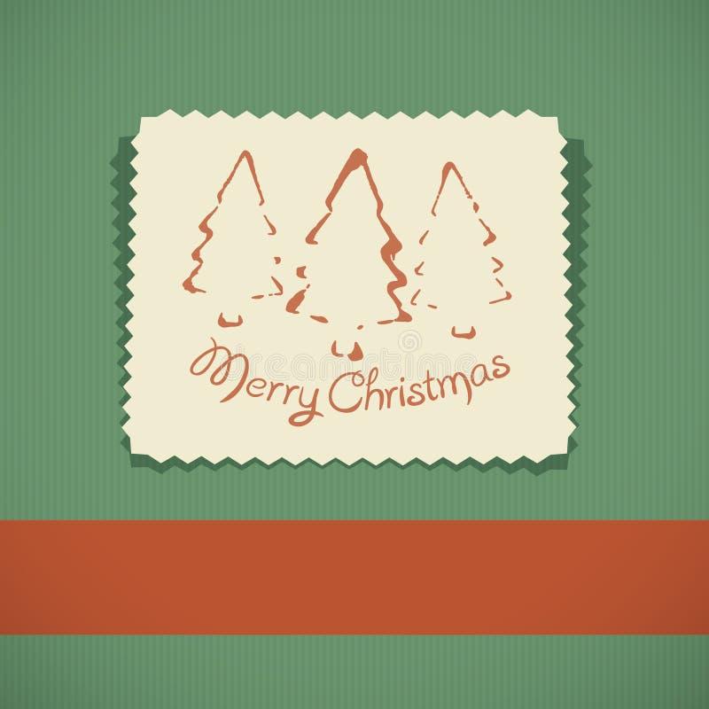 Merry Christmas retro greeting card vector illustration