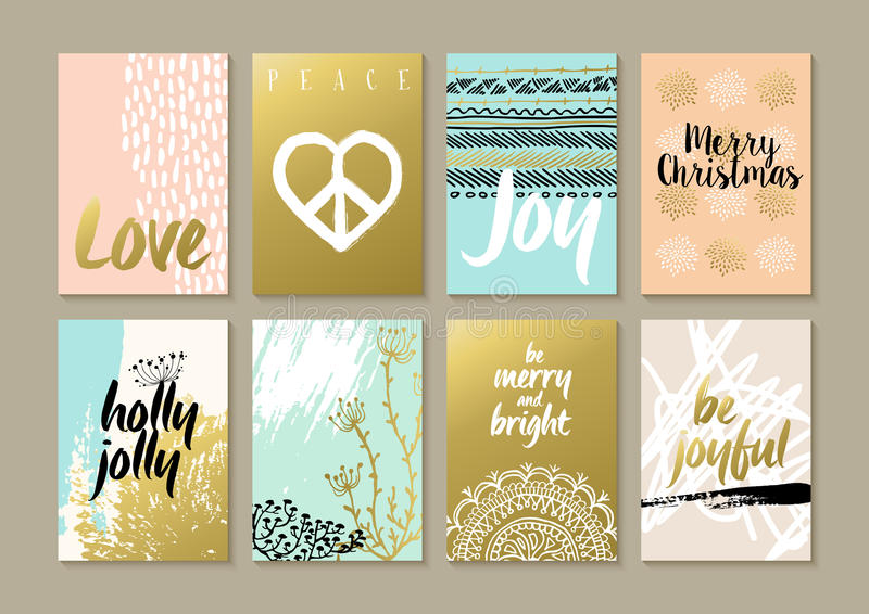 Merry christmas retro hipster boho hippie card set stock illustration