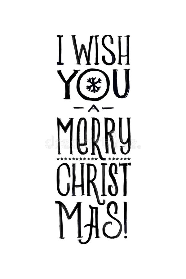 Merry Christmas Retro Vector Poster. Black and White Monochrome Design. Ink Hand Drawn Calligraphy Template for Winter stock illustration