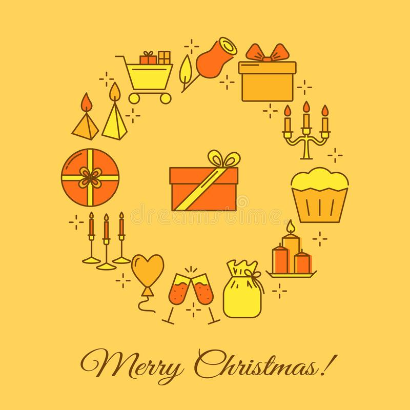Merry Christmas round concept banner in line style. Merry Christmas round concept banner in colored line style. Yellow poster with celebration symbols including stock illustration