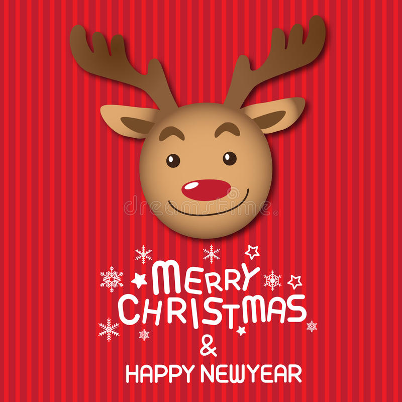Merry christmas and Rudolph. Merry christmas & Happy New year,vector lettring, Rudolph, Tree stock illustration