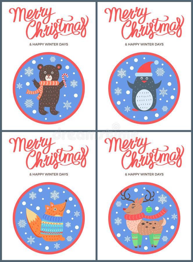 Merry Christmas 60s Style Congratulation Postcard. With happy animals in round frames. Vector illustration with beasts in warm clothes stock illustration