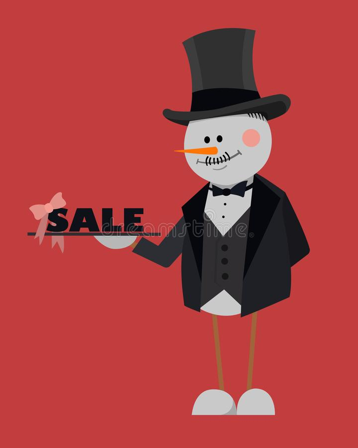 Merry Christmas Sale. Black Friday. Banner, poster, snowman with a tray on red background royalty free illustration