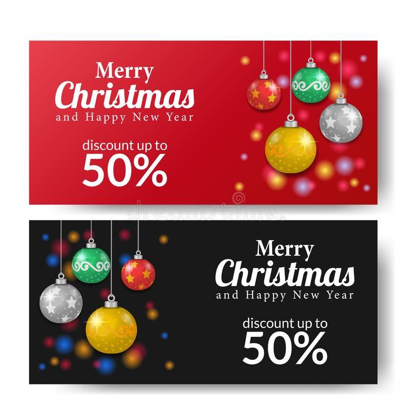 Merry Christmas sale offer banner template with bauble colorful decoration stock illustration