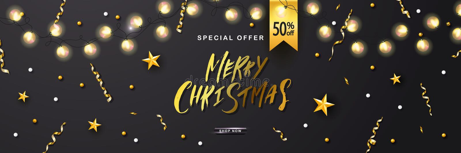 Merry Christmas Sale poster with luminous garlandsand shiny serpentine . Vector illustration. Design for invitation. Banners, ads, coupons, promotional stock illustration
