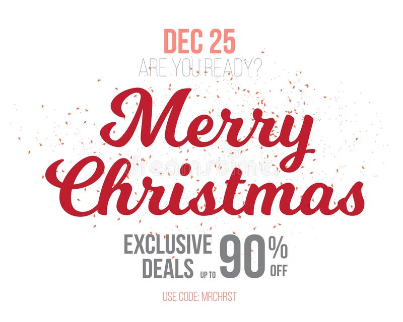Merry Christmas Sale Poster Template. Illustration of Merry Christmas Sale Poster Template Isolated on White Background. Bright Vector Christmas Sale Holiday stock illustration