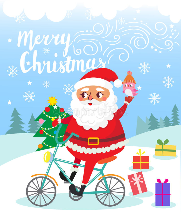 Merry Christmas. Santa Claus on bicycle with gifts . royalty free illustration
