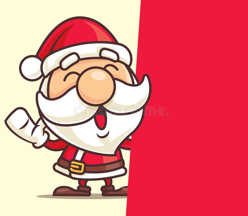 Merry Christmas Santa Claus with big red signboard - vector character vector illustration