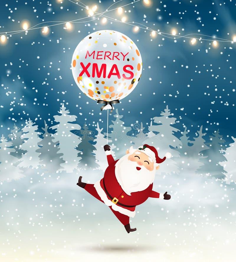 Merry Christmas. Santa Claus with Big transparent realistic balloon confetti in snow scene. Winter Christmas Woodland Landscape wi. Merry Christmas. Cute Santa royalty free illustration