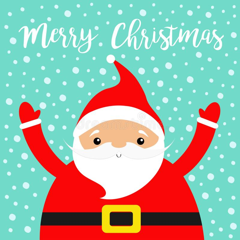 Merry Christmas. Santa Claus costume, red hat, beard, golden belt. Cute cartoon kawaii funny character face, hand. New Year. Baby. Collection. Greeting card vector illustration