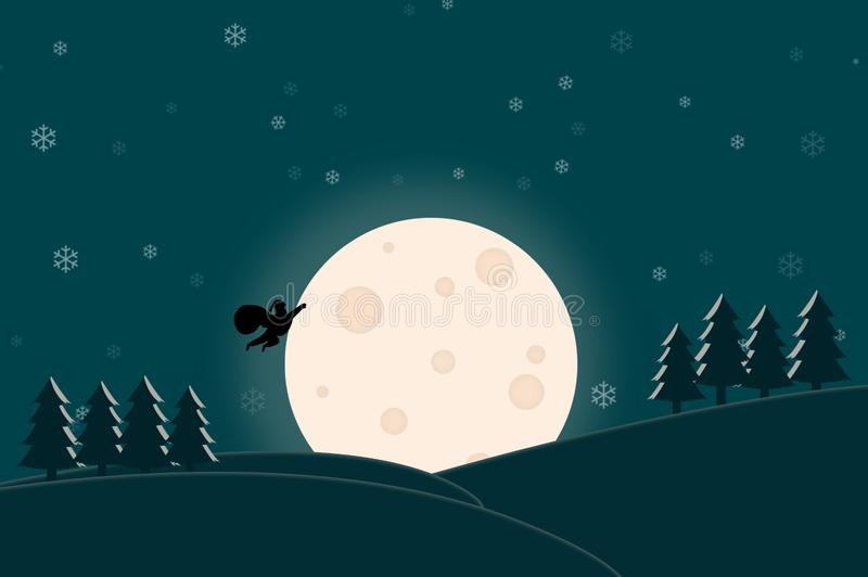 Merry Christmas - Santa Claus flying in the full moon night stock illustration