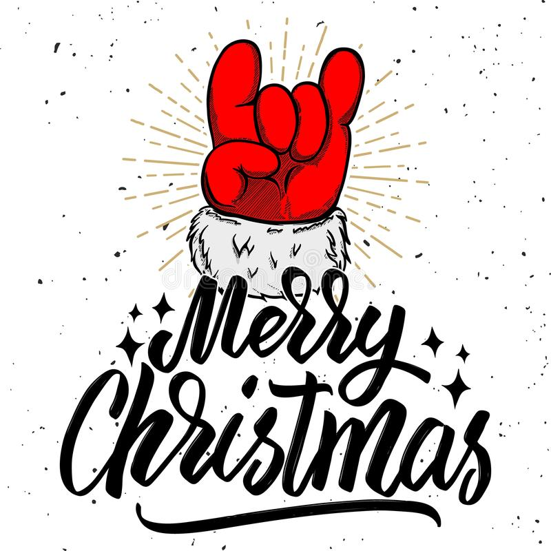 Merry christmas. Santa Claus hand with rock and roll sign. royalty free illustration