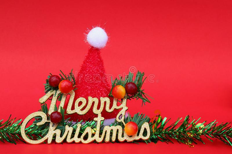 merry christmas with santa claus hat and decorations for pattern stock photo
