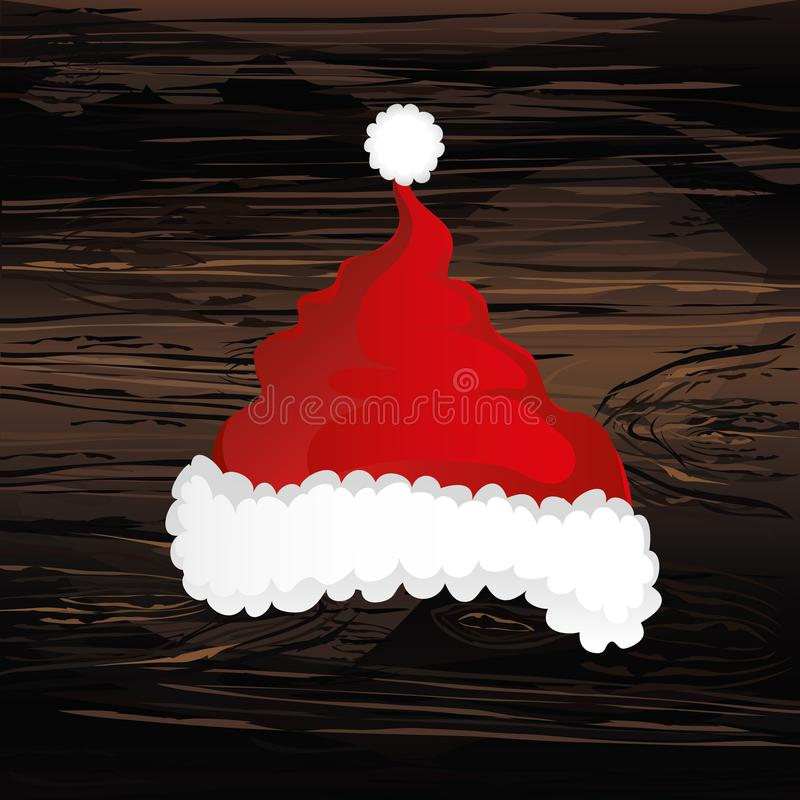 Merry Christmas, Santa Claus hat. Vector. Greeting card on wooden background.  vector illustration
