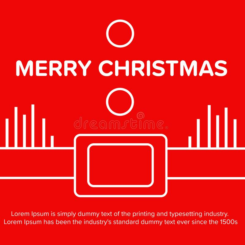 Merry Christmas. Santa Claus red poster, banner vector illustration