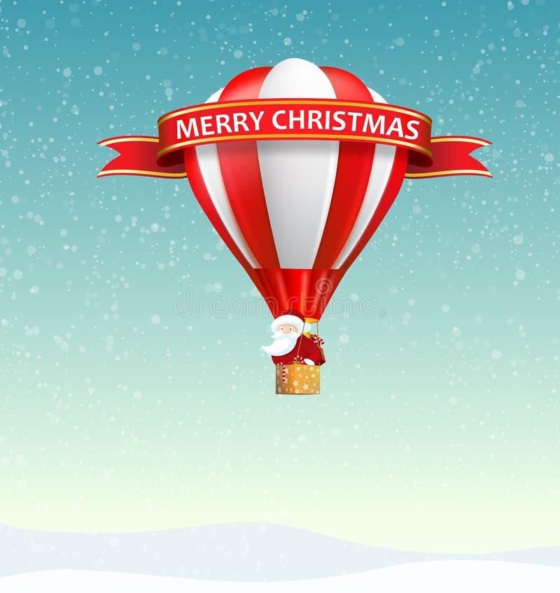 Merry Christmas Banner with Santa Claus riding hot air balloon royalty free stock image