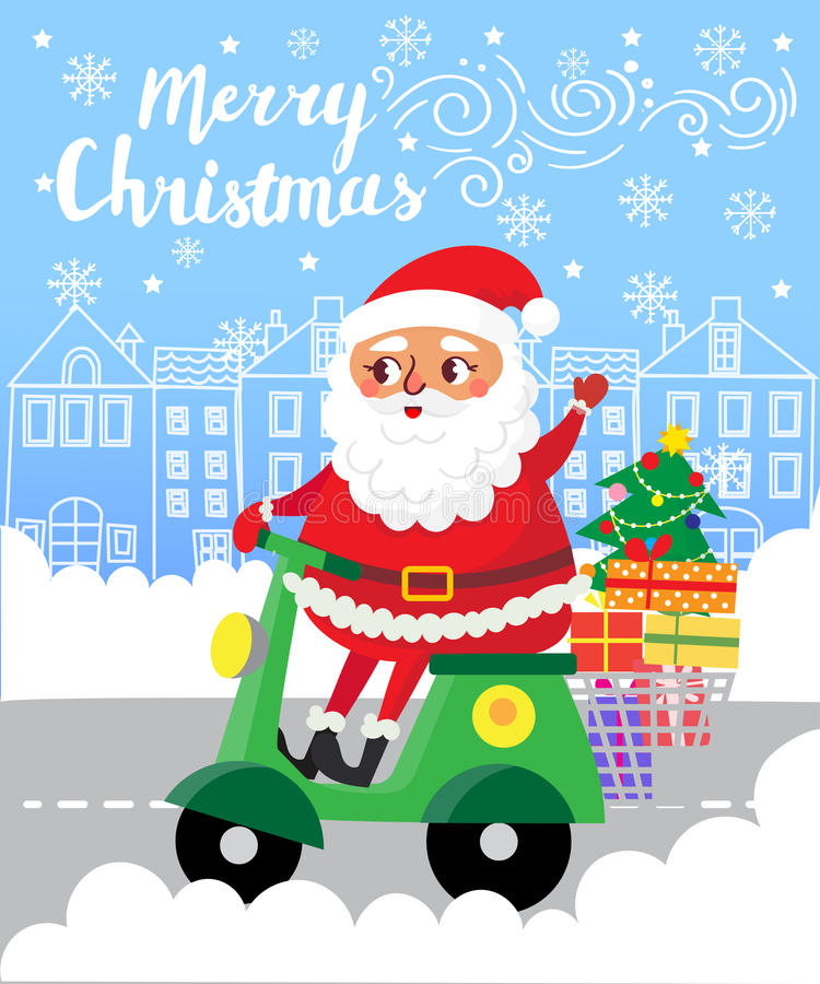 Merry Christmas. Santa Claus on scooter with gifts in city vector illustration