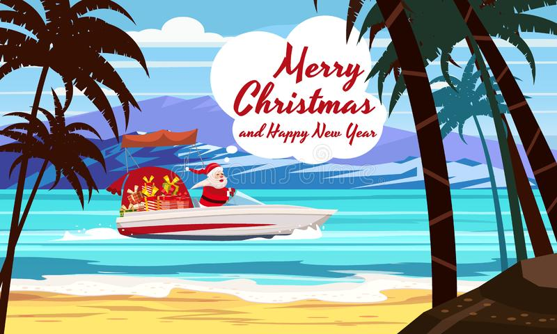 Merry Christmas Santa Claus on speed boat on ocean sea tropical island palms mountains seaside. Vector illustration vector illustration